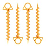 Youful 4 Pack Camping Spiral Tent Stakes - 12 inch Ground Anchor Screw for Securing Dogs,...