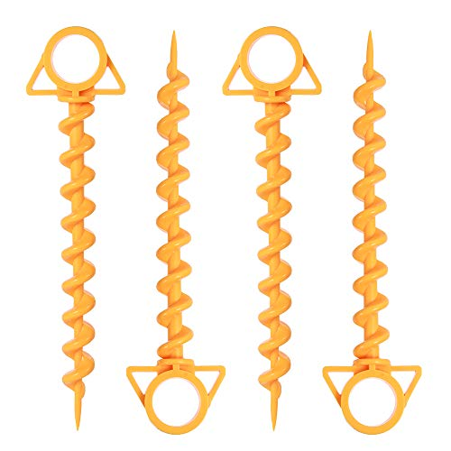 4 Pack Camping Spiral Tent Stakes - 12 inch Ground Anchor Screw for Securing Dogs, Animals,Tents, Pets, Canopies and Beach Blankets, On Sand and Lawn, Heavy Duty, Ultra Lightweight Canopy Pegs