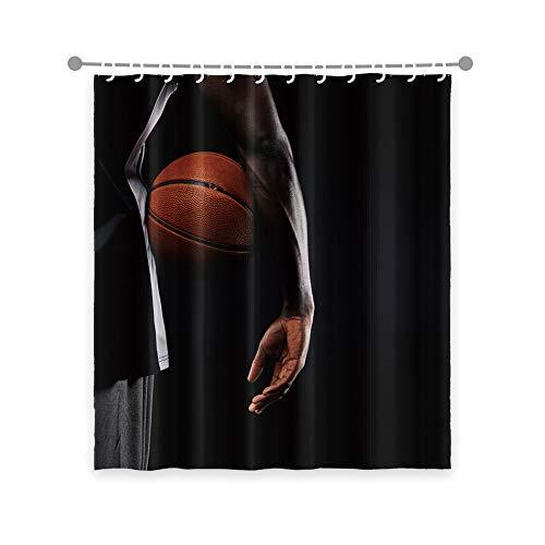 OERJU 70x72inch Basketball Shower Curtain Hoopman Player Sports Game Shower Curtains for Boy Bathroom Decor Waterproof Fabric Bathtub Bath Shower Curtain Liner Hotel Quality Durable with Hooks