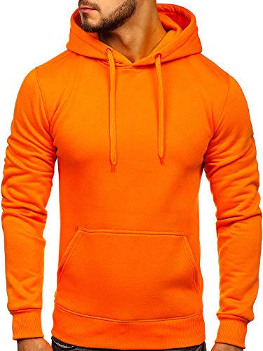 BOLF Herren Kapuzenpullover Sweatjacke Hoodie Sweatshirt mit Kapuze Farbvarianten Kapuzenpulli Freizeit Training Gym Fitness J.Style 2009 Orange L [1A1]