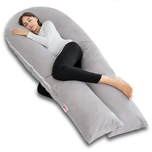 Meiz Full Body Pregnancy Pillow - with 300TC Comfy Cotton Pillowcase &...