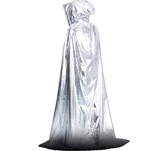 Halloween gouden en zilveren tovenaar mantel, heldere doek dweilen dode mantel volwassen mantel kasteel mantel, Halloween kerst Cosplay kostuum 1.75m Goud