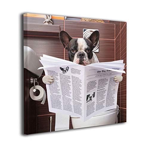 HIBIPPO French Bulldog Sitting On Toilet And Reading Newspaper Canvas Wall Art Prints Artwork Pictures Home Decor For Bedroom Hallway 12'x12' Ready To Hang