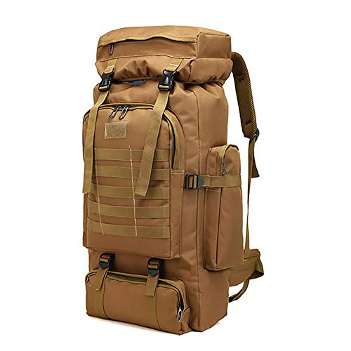 WintMing 70L Large Camping Hiking Backpack Tactical Military Molle Rucksack for Trekking Traveling Oxford Waterproof Mountaineering Pack Large Daypack for Men (Khaki)