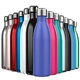 BICASLOVE Botella de Agua de Acero Inoxidable,Diseño de Pared Doble,Boca EstáNdar,para Correr,Gimnasio,Yoga,Ciclismo,500ML,Azul marroquí