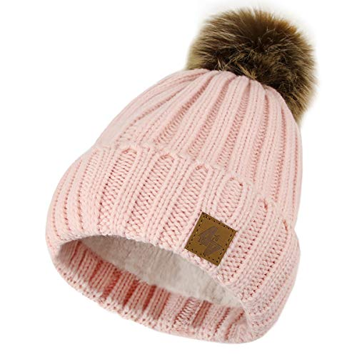 4sold Herren Damen Wurm Winter Style Beanie Strickmütze Mütze mit Fellbommel Bommelmütze Hat Gestrickte Pudelmütze Plain Ski Pom Wooly...