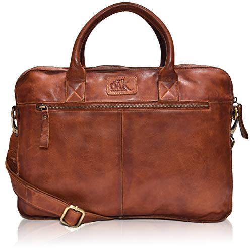 Leather Messenger bag for men 15' Laptop Satchel Shoulder Bag for Men and Women (Dark Tan Wash)