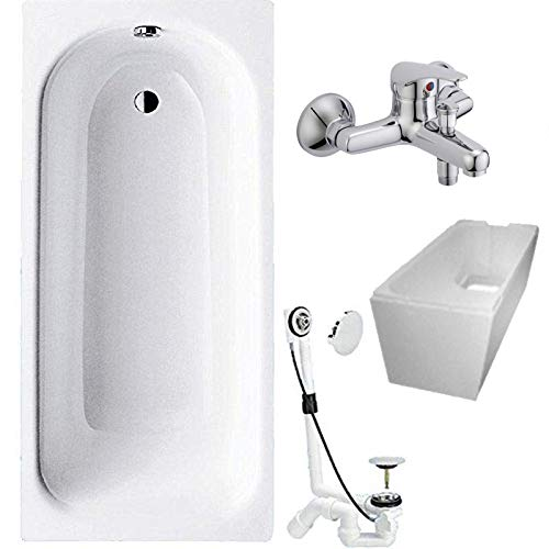 Badewanne 4-in-1 KOMPLETT SET Stahl Rechteckwanne 160 x 70cm weiß inkl. Wannenträger, Ablaufgarnitur und Wandarmatur