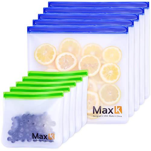 Max K 再利用可能 サンドイッチ/ガロン 冷凍バッグ - 果物、パン、野菜用のトラベルフードコンテナ - 透明 漏れ防止 - 再密封可能なPEVAランチバッグ - ポータブル、気密ポーチ - 10個パック