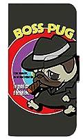 [iPhone12] スマホケース 手帳型 ケース デザイン手帳 アイフォン12 8320-A. BossPug02ブラック かわいい 可愛い 人気 柄 ケータイケース ヌヌコ 谷口亮