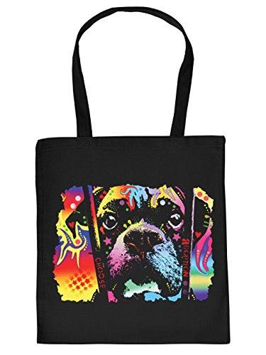 Cool Bedruckte Stofftasche/Jutebeutel/Einkaufstasche in schwarz mit trendy Neon Motiv: Choose Adoption Boxer - Welpe hinter Gitterstäben