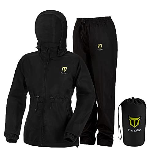 TIDEWE Women's Rain Suit, Waterproof Lightweight Rainwear (Black Size L)