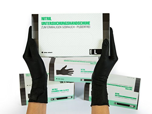 Nitrilhandschuhe 200 Stück Box (L, Schwarz) Einweghandschuhe, Einmalhandschuhe, Untersuchungshandschuhe, Nitril Handschuhe, puderfrei, ohne Latex, unsteril, latexfrei, disposible gloves, black