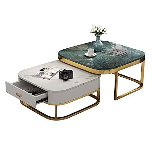 WSHFHDLC Mesas auxiliares con espacio de almacenamiento, mesas de café cuadradas para la sala de estar, muebles modernos de dos piezas, mesas de café pequeñas