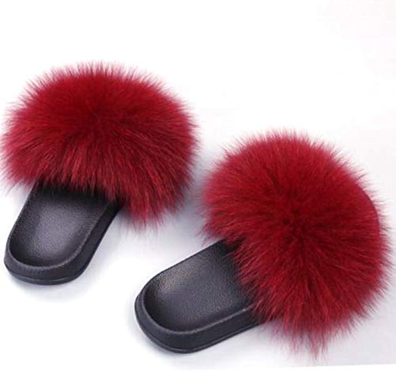 Women Fox Fur Slippers Real Fox Hair Slides Women Furry Indoor Flip Flops Casual Beach Sandals Fluffy Plush shoes