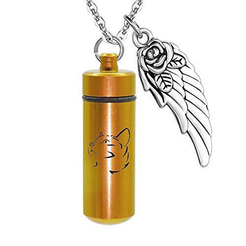 Urna Cenizas Colgante Personalice el Cilindro de Recuerdos de Gato conmemorativo con alas de ángel Collar de Cementzensche Cadena de Acero Inoxidable con Embudo y Bolsa de Regalo