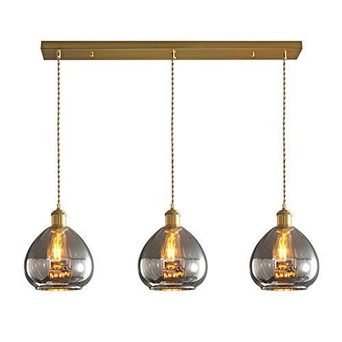 3-licht Glas Klar 100% Metal Kronleuchter,moderne Handmade Glas Klar Lüster Erröten-einfassung Hängen Deckenleuchte Leuchte Für Küche Insel-rauchgrau Langer Teller