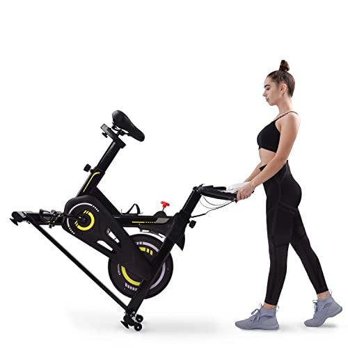 WZFANJIJ Bicicleta Spinning Estática de Fitness con Pantalla LCD, Asiento y Sillín Ajustables. Silenciosa, Resistencia Regulable,Yellow