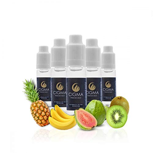 CIGMA 5 X 10ml E Liquid - Tropical Fantasy Mix, 0mg - Ananas - Minze - Banane - Guave Aprikose - Kiwi Cantaloupe starken Geschmack, hochwertige Für elektronische Zigaretten und E Shisha hergestellt.