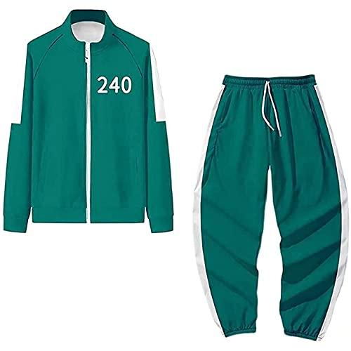 Juego de calamar Disfraces de Halloween Hombre Adulto Mujeres Mono Chndales Sudaderas Pantalones Dos Piezas Conjunto Azul 240