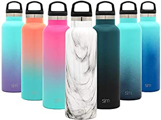 Simple Modern 20oz Ascent Water Bottle - Hydro Vacuum Insulated Tumbler Flask w/Handle Lid - Double Wall Stainless Steel Reusable - Leakproof Pattern: Carrara Marble
