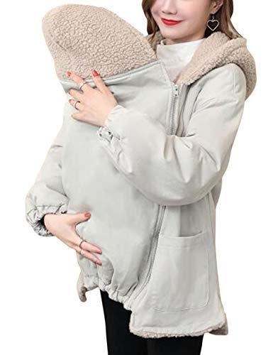 TAAMBAB Inverno Cappotto con Cappuccio Giacca per Mamma e Portantina per Bebè maternità Incinta Soprabito - Caldo Baby-proteggendo Staccabile Tasca