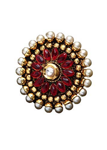 JewelryGift Beautiful Design Cocktail Ring Pearl, Ruby CZ Red Ethnic 18K Gold Plated Stylish Jewellery Gift for Women Girls Ladies