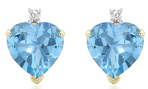 Carissima Gold Women's 9 ct Yellow Gold Diamond and Blue Topaz Heart Stud Earrings