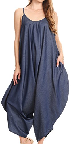 Sakkas 534 - Latrice Balloon Sleeveless Relax Fit Jumpsuit Tent with Pockets Unique - Chambray - OS