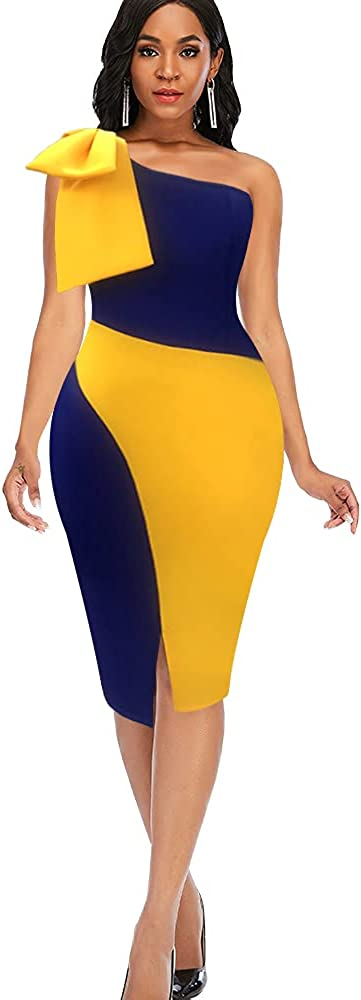 nuoshang Women's One Shoulder with Bowtie Backless Colorblock Slim Pencil Dress