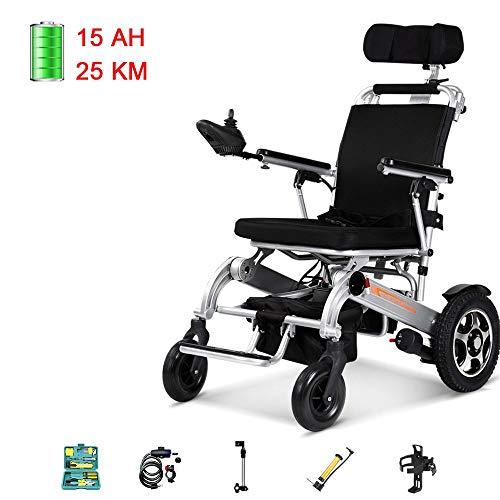 Elektrische rolstoel, licht, automatisch, inklapbaar, zeer draagbaar, dubbele motor met hoog vermogen, intelligente rem. C500 15ah