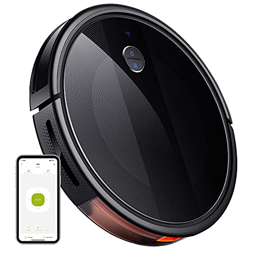 E20 Robotic Vacuum Cleaner, 2000Pa, 150 min Runtime, Boundary Strips Included, Super Quiet, Super-Thin, Self-Charging, Support Alexa & WiFi, Suitable for Pet Hair, Carpets, Hard Floors (Black)