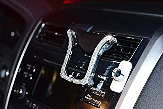 Universal Car Phone Holder Bling Rhinestone Crystal Phone Bracket for Car Air Vent Mount Clip, Stylish Sparkling Shiny Cell Phone Holder for iPhone/Samsung Car Holder (Silver)