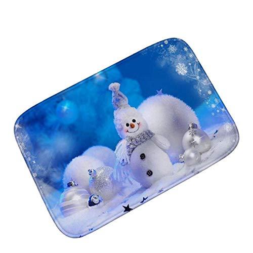 DGGGD Area Rug Anti-Slip Door Mat 3D Merry Christmas Tree Snowman Snowflake Patterned Carpet Thicken Floor Mat for Living Room Bedroom Hallway Kitchen 18x30(IN)