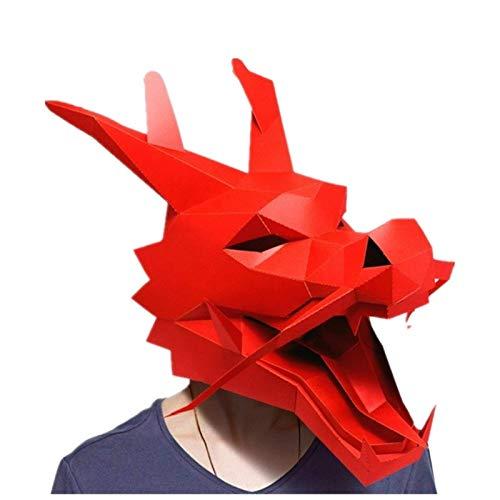 XCAYBH DIY - Mscara de papel para Navidad, Halloween, fiesta de graduacin, 3D, disfraz de dragn chino (color: 1)