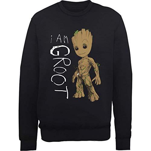 Marvel Herren Guardians of The Galaxy Vol.2 I Am Groot Scribbles, Schwarz (Black Blk) M-Sweatshirt, Medium