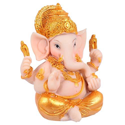 Cabilock Gold Hindu Elefant Gott Figur Figur Ganesha Elefant Gott Statue Buddha Elefant Skulptur Hinduismus Elefant Tisch Ornament für Home Car Office Desktop Dekor 7.