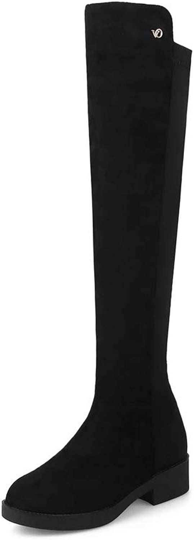 AN Womens Square Heels Fabric Boots DKU02620
