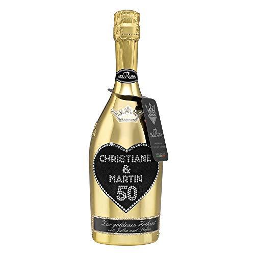 Geschenk goldene Hochzeit Hochzeitstag personalisiert mit Swarovski Kristallen Sekt Flasche 0,75 l Motiv CHRISTIANE & MARTIN 50