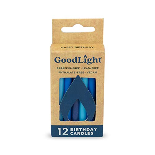GoodLight Paraffin-Free Vegan Birthday Candles, Blues