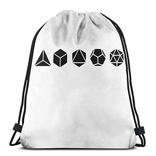 Chezaskee Platonic Solids - Building Blocks Of Life - Mathematics, Geometry Drawstring Bags Classic Men and Women Sports Backpack Storage Bag Travel Beach Bag