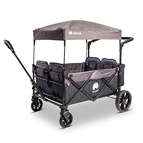 elvent® WagonPro City Bollerwagen/Handwagen faltbar mit Dach I 4 Sitzplätze | groß I Sitzpolster, Hecktasche, Feststellbremse, 5-Punkt-Gurt I für 4 Kinder (Blau)