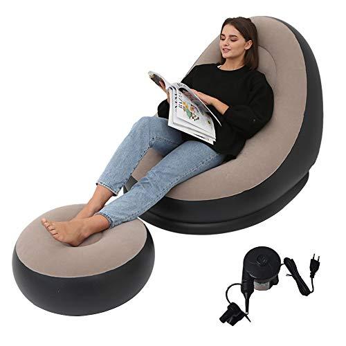 エアーソファー エアーベッド 空気ベッド オットマン付 椅子 耐荷重150 kg一人掛け 電動空気入れ付き インテリア 座椅子 セット