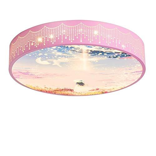 Lámpara De Techo Regulable Con Mando A Distancia Para Habitación Infantil,Plafón Led De Techo,Cielo Estrellado Rosa Luz Cálida Romántica 50Cm Luz Blanca