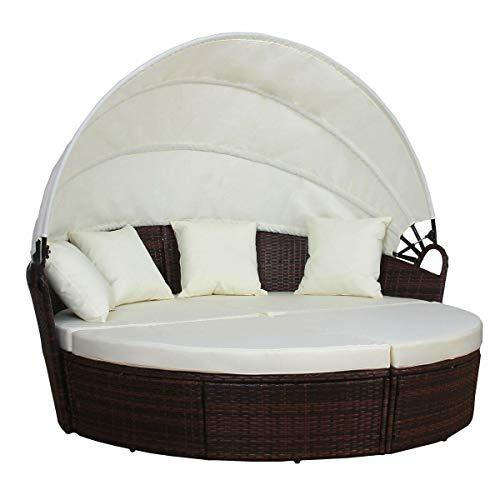 YJYDD Poly-Rattan Sonneninsel Liege Gartenmöbel Set Möbel Segel Farben (Color : Braun)