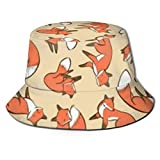 Sun Hat for Men/Women, Summer Outdoor Sun Protection Wide Brim Bucket Hat Breathable Packable Hat for Safari Fishing Hiking Beach Golf, Funny Fox Art