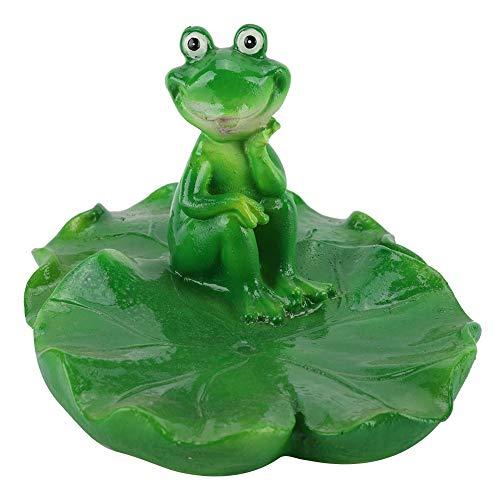 MAGT Schwimmende Tier Dekor, Sitzen Auf Doppelte Lotusblatt, Kleiner Frosch, Springbrunnen, Wasseroberfläche, Lotus Flower Ornament for Desktop Ornament Garden Ornament