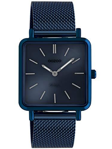 Oozoo Vintage Damenuhr Quadratisch mit Milanaiseband Dark Blue 29 x 29 MM Blau C20013