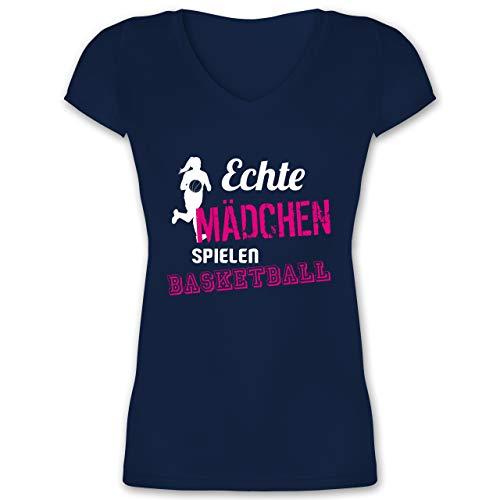 Basketball - Echte Mädchen Spielen Basketball - S - Dunkelblau - echte mädchen Spielen Basketball - XO1525 - Damen T-Shirt mit V-Ausschnitt