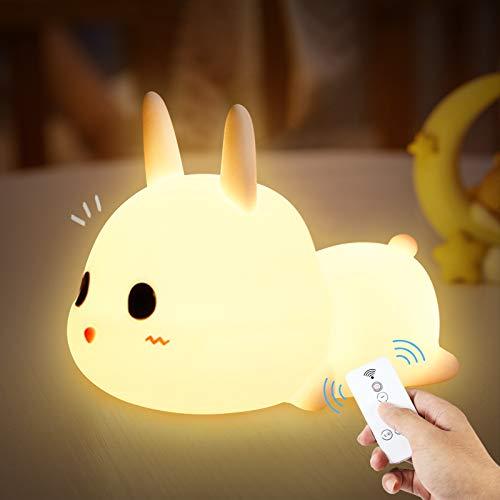 specool Veilleuse Portable Enfant, 7 couleurs LED Lampe de Lapin en Silicone,Bébé Chambre Lampe, USB rechargeable Jolie Lampe à Changement de Couleur avec Télécommande,Cadeau d'anniversaire de Noël